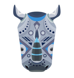 rhino head logo decorative emblem vector image