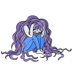 sad depressed woman vector image vector image