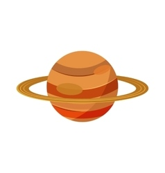 Saturn planet icon in cartoon style vector image