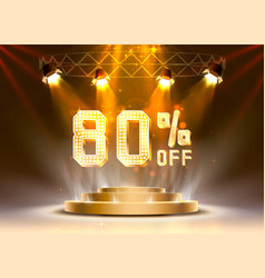 scene golden 80 sale off text banner night sign vector image