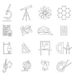 Science icons set thin line style vector