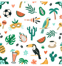 seamless brazilian pattern with cultural and vector image