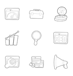 SEO icons set outline style vector image