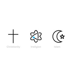 Set christianity irreligion and islam icons vector
