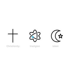 set christianity irreligion and islam icons vector image