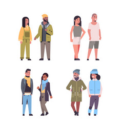 set people in casual clothes standing pose mix vector image