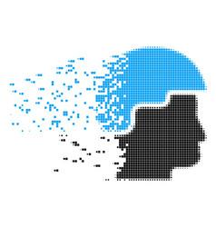 Soldier helmet dissolving pixel icon vector