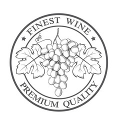 stamp with grapes bunches vector image
