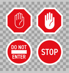 Stop road sign red hand enter gesture vector