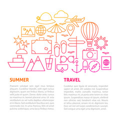 summer travel line template vector image