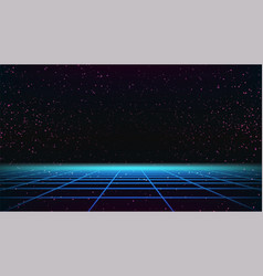Synthwave 80s grid template retro future vector