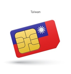 Taiwan mobile phone sim card with flag vector image
