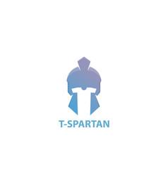 tee shirt spartan helmet logo design vector image