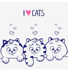 three kittens vector image