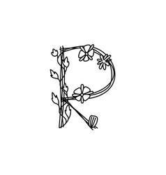 Vintage floral bold letter r logo spring classic vector