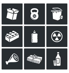 Waste and recycling Icons vector image