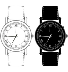 Watch hand watch icon with roman numeral vector