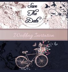 Wedding invitation or save the date card vector