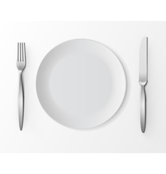 White Empty Round Plate with Fork and Knife vector image