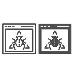 Window bug line and glyph icon website virus vector