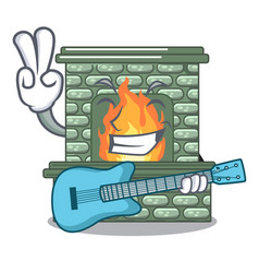 With guitar cartoon stone fireplace with the flame vector
