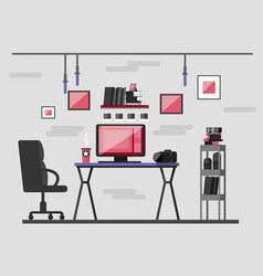 Workplace photographer photo equipment vector