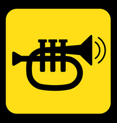 Yellow black sign - trumpet sound icon vector