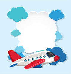 border template with white airplane vector image