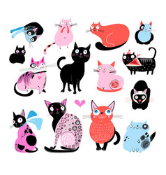color set of different funny cats vector image vector image