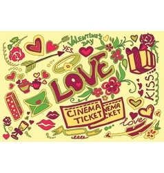 Colored Valentines day doodle set vector image vector image