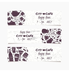 Banners set with hand drawn drinks Round doodle vector image vector image