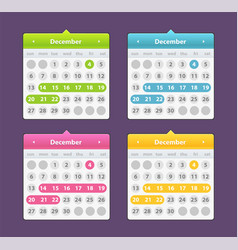 colorful year 2018 calendar isolated on a dark vector image