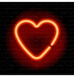 Neon heart on the brick wall vector image