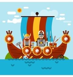Viking Boat Background vector image vector image