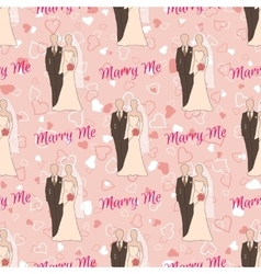 Wedding seamless pattern with bride and groom vector image