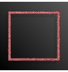 Frame Red Sequins Square Glitter sparkle vector image vector image