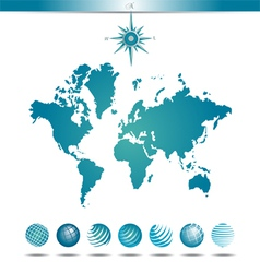 Globes with World Map and Compass vector image vector image