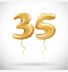 golden number 35 thirty five metallic balloon vector image vector image