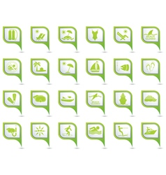 Set of 24 pointers sea and beach Green vector image