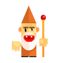 cartoon angry dwarf holding staff in his hands vector image vector image
