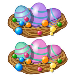 colorful easter eggs with pattern in straw basket vector image