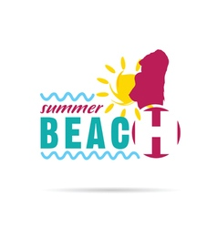 girl with summer beach and sun vector image vector image