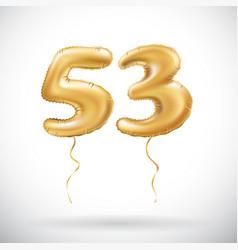 golden number 53 fifty three metallic balloon vector image vector image