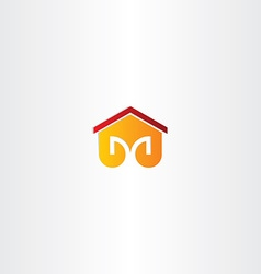 letter m house building icon vector image