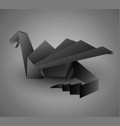 origami black dragon card or calendar template vector image