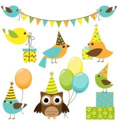 party birds set vector image