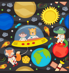 seamless pattern with spacecraft and animals vector image vector image