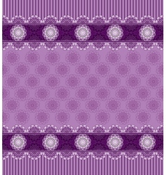 Seamless purple background with lace border vector image
