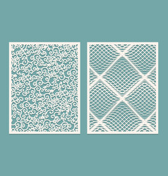 Set of laser cut panels template patterns for vector