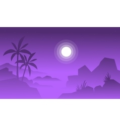 Silhouette of big rock and moon vector